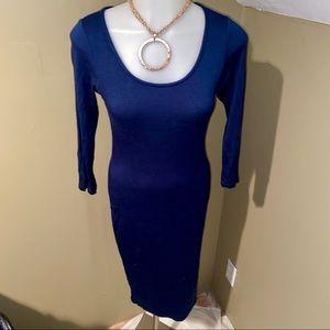 Soprano Women's Midi Bodycon Dark Blue Dress SZ S